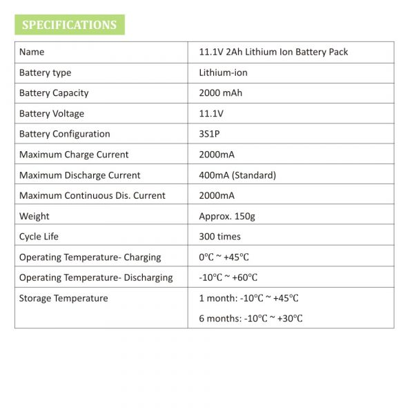 11.1V 2Ah Lithium Ion Battery Pack