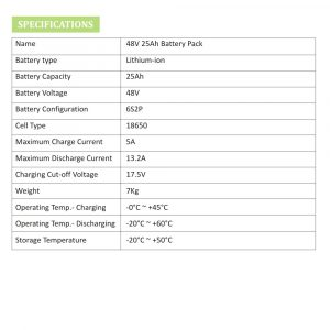 48V 25Ah Lithium Ion Battery Pack