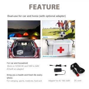 Coolnut Portable Mini Refrigerator 12L Fridge for Car, RV, Van, Vehicle, Boat, Beverage, Fruits, Vaccine Freezer (-20°C to +20°C) for Camping, Travel, Fishing Outdoor — 12/24V DC and 100/240V AC